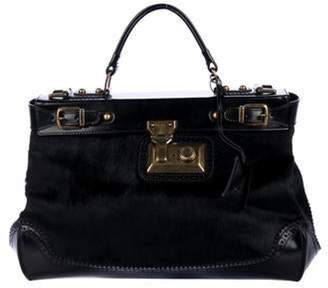 Tod's Leather-Trimmed Ponyhair Satchel Black Leather-Trimmed Ponyhair Satchel
