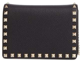 Valentino Mini Rockstud Leather Wallet on a Chain