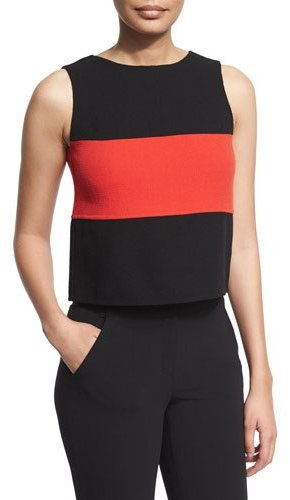 Armani Collezioni Sleeveless Two-Tone Blouse, Black/Flame