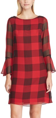 Chaps Women's Checked Bell-Sleeve A-Line Dress