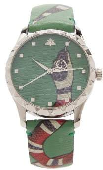 Gucci Le Marche Des Merveilles Leather Watch - Mens - Green
