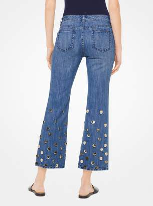 MICHAEL Michael Kors Embellished Cropped Flared Jeans