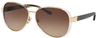 Tory Burch Capped Gradient Aviator Sunglasses, White