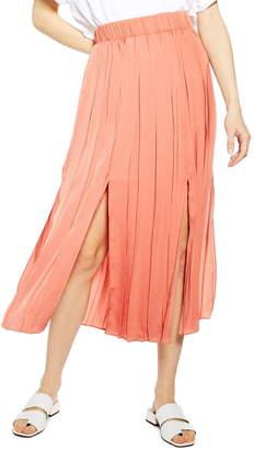 Topshop Double Slit Pleated Satin Midi Skirt