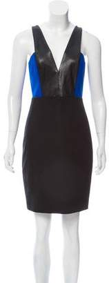 Mason Leather Trimmed Mini Dress