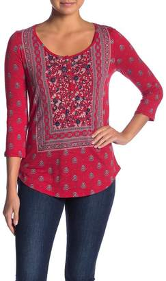 Lucky Brand Scoop Neck 3\u002F4 Sleeve Dual Patterned Henley