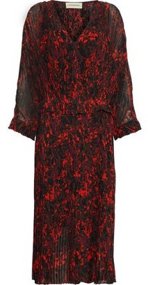 By Malene Birger Otter Printed Plisse-georgette Midi Dress