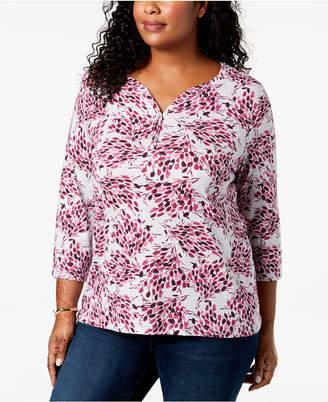 Karen Scott Plus-Size Printed 3/4-Sleeve Henley