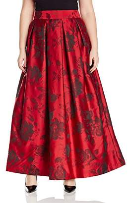 Jessica Howard JessicaHoward Women's Plus Size Pleated Ballgown Separate Skirt with Inset Waistband, Red/Black