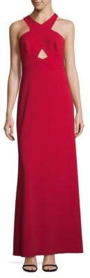 Adrianna Papell Cutout Halterneck Gown