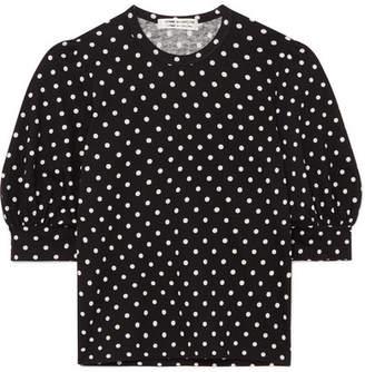 Comme des Garcons Polka-dot Cotton-jersey Top - Black