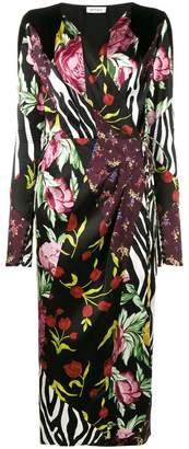 ATTICO Victoria patchwork print wrap dress