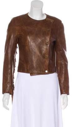 Veronica Beard Fringe-Trimmed Leather Jacket