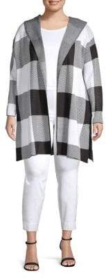 Calvin Klein Plus Long Checkered Hooded Sweater Jacket