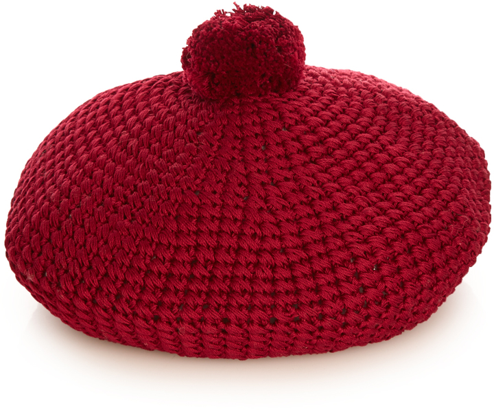 Gucci GUCCI Pompom cotton-knit beret