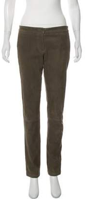 L'Agence Lamb Suede Mid-Rise Skinny Pants