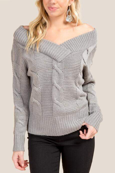 Nikki Double Vneck Cable Knit Sweater - Heather Gray