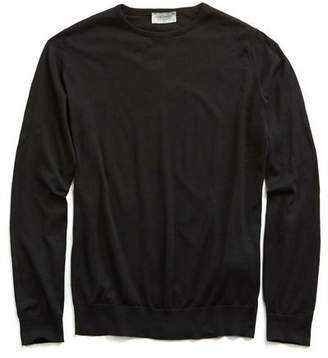 John Smedley Sweaters Hatfield Cotton Crewneck Sweater in Black