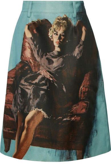 Prada - Printed Wool And Silk-blend Skirt - Light blue