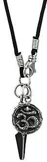 King Baby Studio Men's Sterling Silver & Leather Vajra & Aum Medallion Pendant Necklace