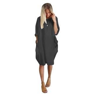 2d809af399ab BingYELH Women Tunic Dress Loose Baggy Party Shirt Mini Short Dresses with  Pockets (M