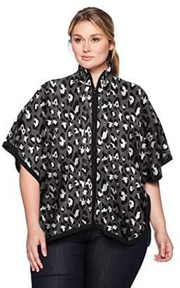 Jones New York Women's Plus Size Zip Front Mock Nk Cape W/Armholes