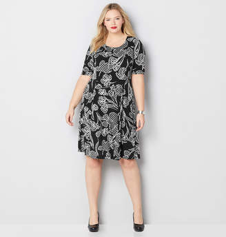 Avenue Plaid Floral Fit and Flare Dress