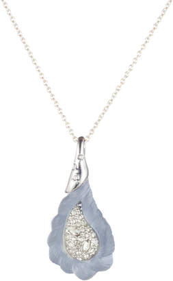 Alexis Bittar Crystal Encrusted Frosted Paisley Rope Pendant Necklace