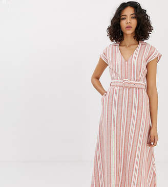 NATIVE YOUTH maxi shirt dress with belt in linen stripe