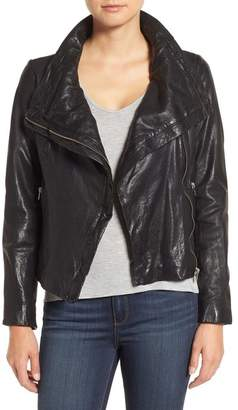 Moto LAMARQUE Funnel Neck Leather Jacket