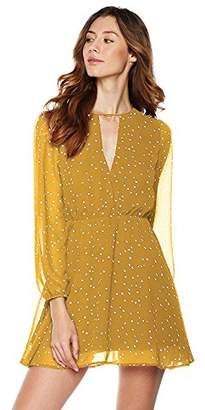 Plumberry Women's Choker V-Neck Long Sleeve Star Print Casual Mini Dress