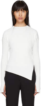 Helmut Lang White Paper-Blend Twisted Crewneck Sweater