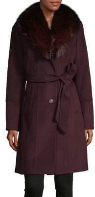 MICHAEL Michael Kors Fox Fur-Trimmed Belted Walker Coat