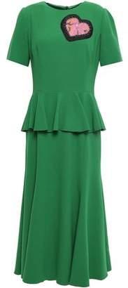 Dolce & Gabbana Appliqued Crepe Peplum Midi Dress