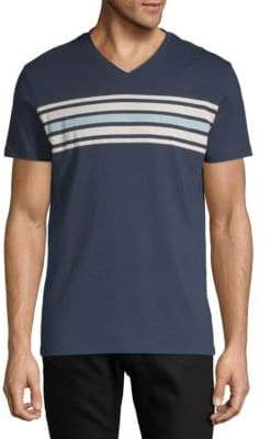 Saks Fifth Avenue Striped Front V-Neck Cotton Tee