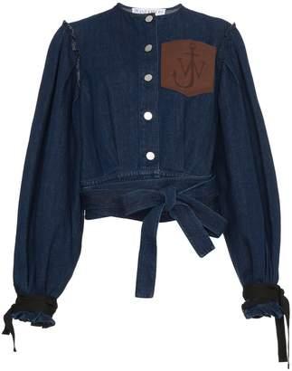 Leather Pocket Denim Jacket