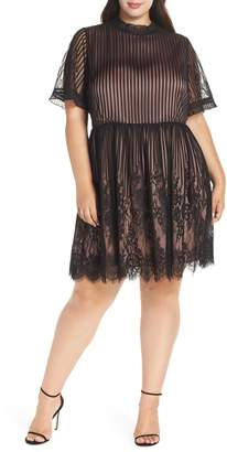 Chelsea28 Shadow Stripe Lace Dress