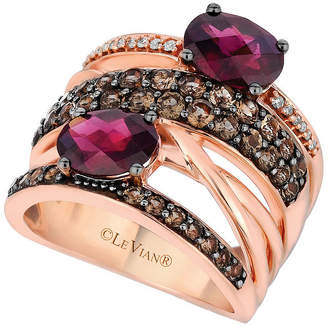 LeVian CORP LIMITED QUANTITIES Le Vian Grand Sample Sale Ring featuring Raspberry Rhodolite, Chocolate Quartz, Vanilla Diamonds set in 14K Strawberry Gold