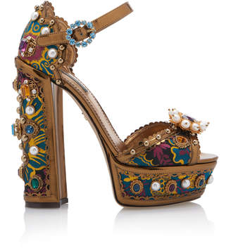 Dolce & Gabbana Jewel-Embellished Metallic Leather Platform Sandals