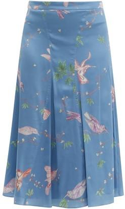 Altuzarra Caroline Bird Print Silk Knee Length Skirt - Womens - Blue Print