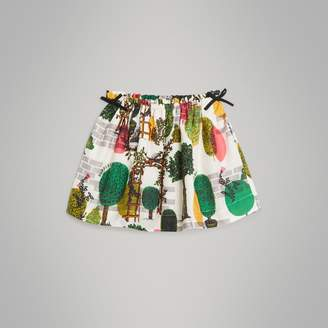 Burberry Tree Print Cotton Silk Skirt
