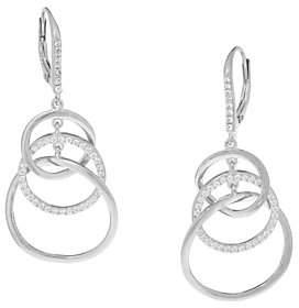 Diamonique Triple Circle Dangle Earrings,Sterling