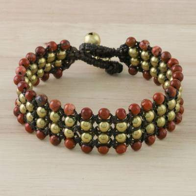 Dreams of Nature in Red Handcrafted Jasper and Brass Beaded Bracelet from Thailand
