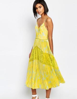 Whistles Iris Lace Insert Midi Dress $421 thestylecure.com