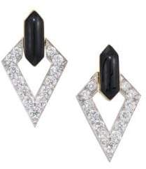 David Webb Motif Platinum, 18K Yellow Gold& Diamond Drop Earrings