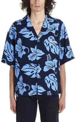 Prada Hawaii Print Logo Patch Shirt