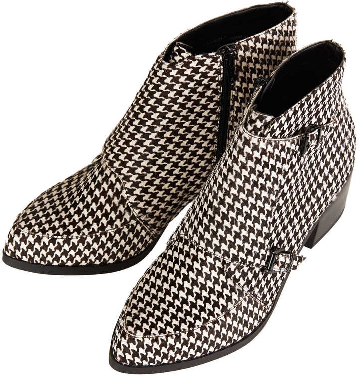Topshop ACUTE Dogtooth Monk Boot