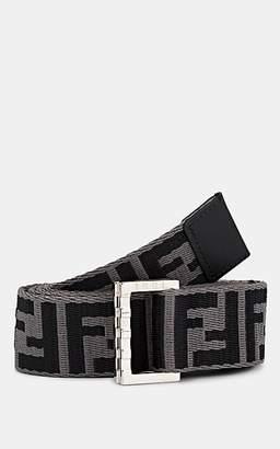 Fendi Men's Logo-Jacquard Webbed Fabric Belt - Dark Gray