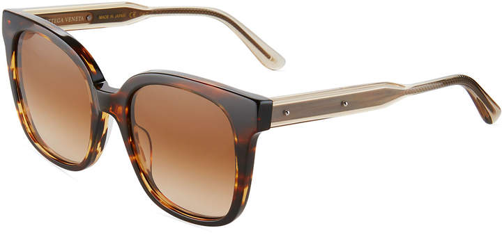 Bottega Veneta Bottega Veneta Two-Tone Square Havana Plastic Sunglasses, Brown