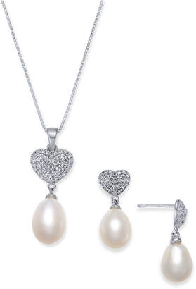 Macy's Cultured Freshwater Pearl (7 x 9mm) & Cubic Zirconia Heart Jewelry Set in Sterling Silver